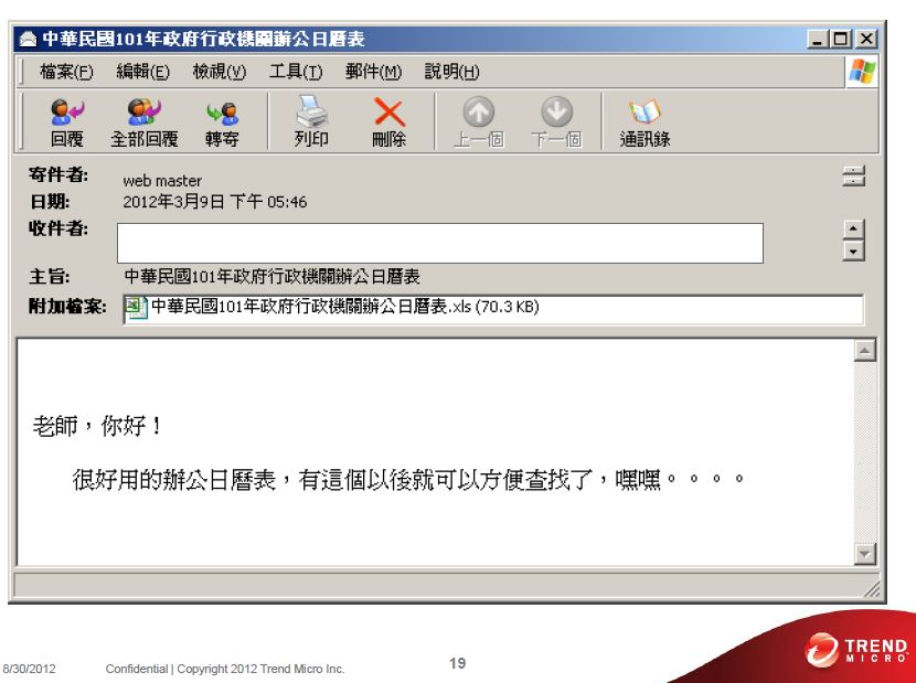 APT 目標攻擊中文社交工程信件樣本