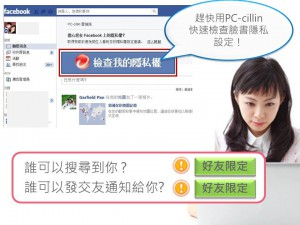 PC-cillin 2013 雲端版防毒軟體網路安全軟體獨家facebook 臉書隱私設定監督功能