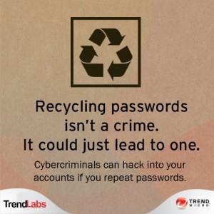 10% 的使用者不論任何帳號都使用同一個密碼。.另外常見使用者不是將密碼儲存在某個 .DOC/.TXT 案就是寫在紙上。