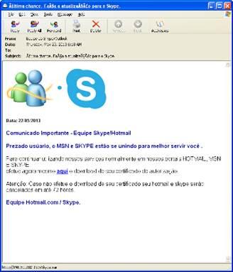假冒Skype官方名義發送的假「要求下載授權憑證」信件樣本