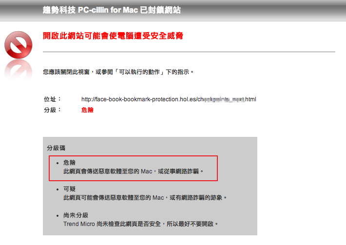 收到Facebook Notification訊息確認帳號?小心釣魚網站!圖為 PC-cillin 雲端版 for Mac 攔截到該病毒的畫面
