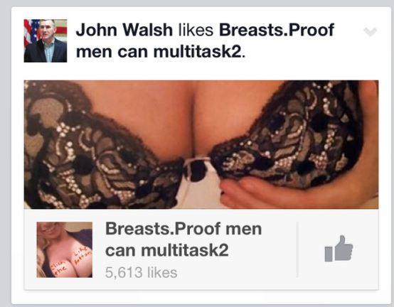 蒙大拿州副州長 John Walsh 極有可能代表家鄉加入2014年美國參議員選舉,不過正因在Facebook臉書上,對一張露出乳溝照片按讚而備受批評。