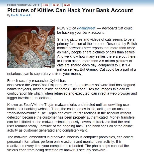 Pictures of kitties can hack your bank account