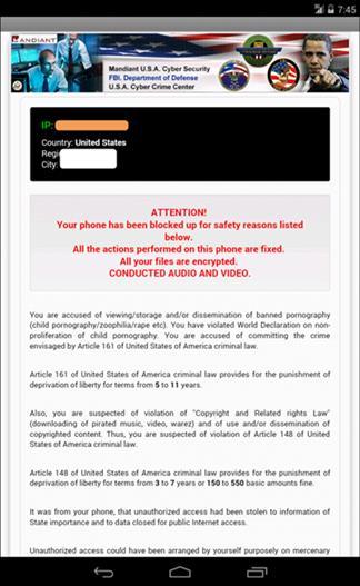 被綁架的手機會出現偽裝成各地執法單位的假警告,並讓手機無法使用