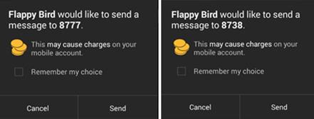 fake app2 木馬化 Flappy Bird 發送的高費率簡訊範例。