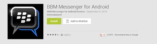 fake app4假冒的 Android 版 BBM 程式在 Google 商店的下載畫面。