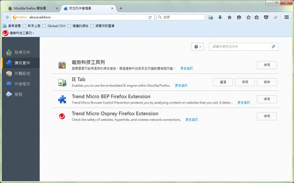 圖3.、設定 > 附加元件 > 擴充套件 – Firefox