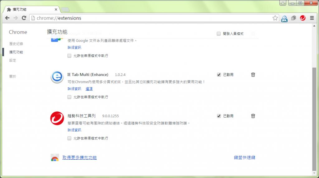圖2、設定 > 擴充功能 – Chrome