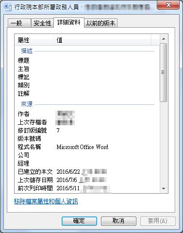 圖4:釣魚文件的檔案屬性也都精心使用了台灣研究相關議題的學者與政府機關承辦人姓名