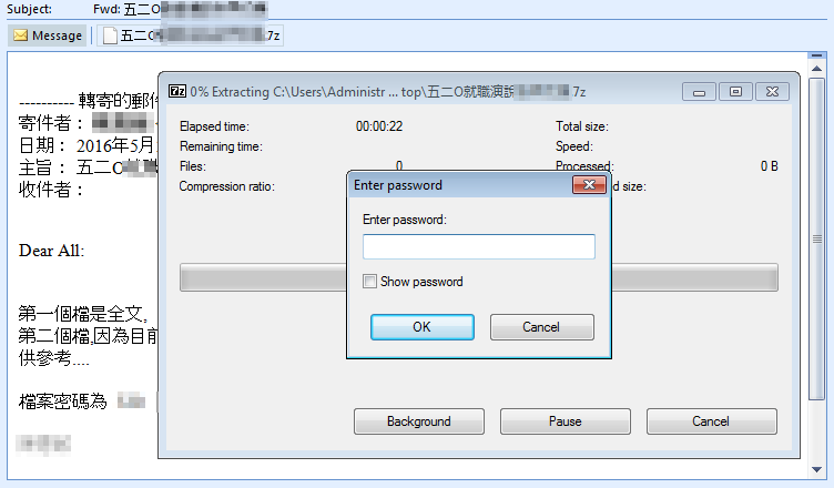 圖6、攻擊者利用密碼加密的壓縮檔來規避防毒軟體偵測