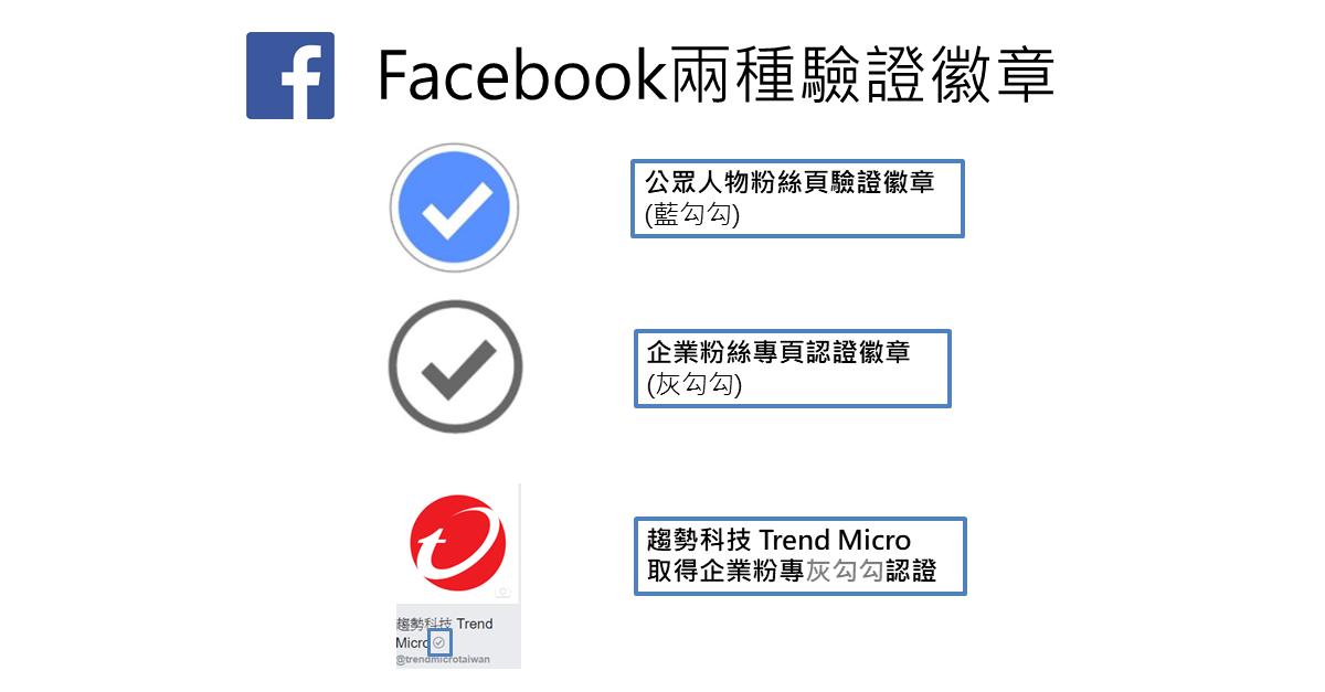 根據 Facebook 官方解釋: Facebook目前提供兩種驗證徽章:公眾人物粉絲頁驗證徽章(藍勾勾),以及企業粉絲專頁認證徽章(灰勾勾)。( 編按:趨勢科技粉絲頁即取得灰勾勾的官方認證 )