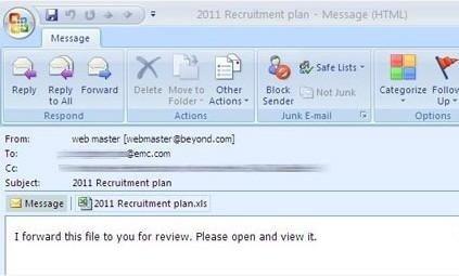 RSA APT 事件中的網路釣魚郵件