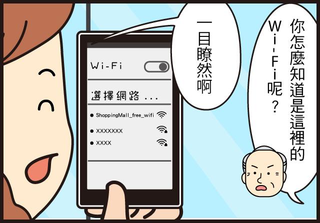 在公共場所使用無線網路( WiFi )的五個安全須知爺爺:你怎麼知道是這裡的Wi-Fi呢?媽媽:一目瞭然啊