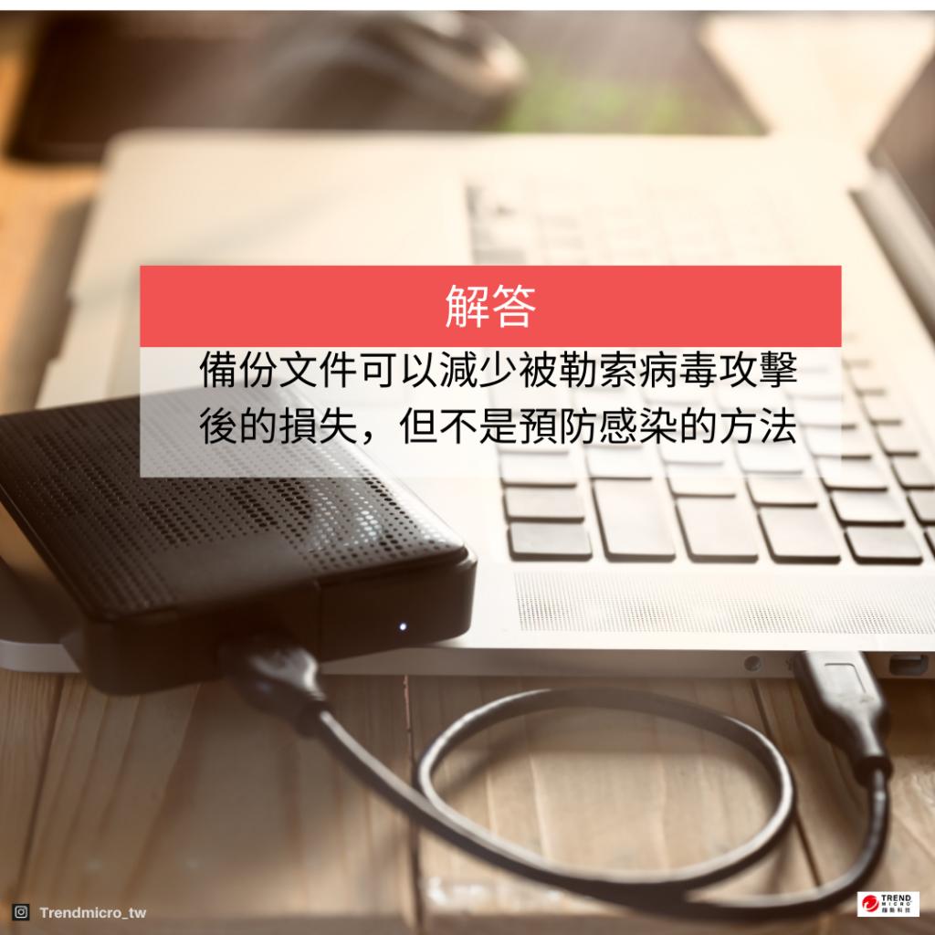 備份文件可以減少被勒索病毒攻擊後的損失,但不是預防感染的方法。